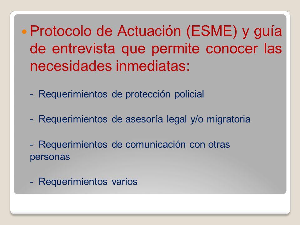 Protocolo de Actuación (ESME) y guía de entrevista que permite conocer las necesidades inmediatas: