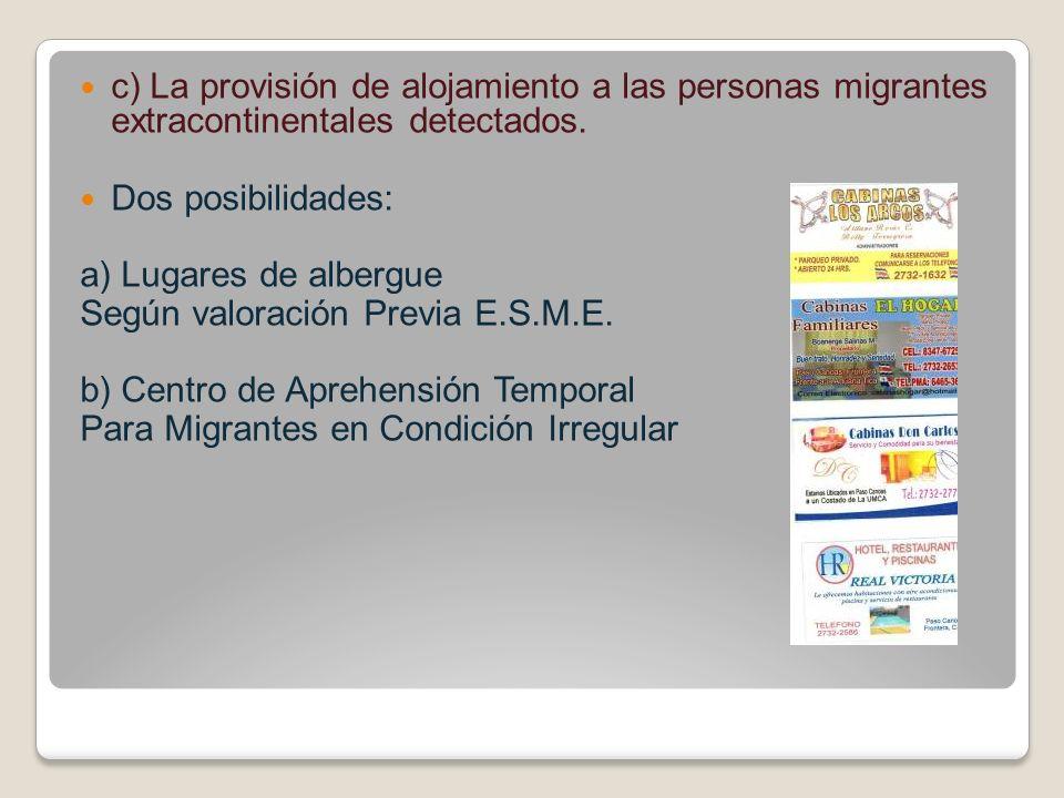 c) La provisión de alojamiento a las personas migrantes extracontinentales detectados.