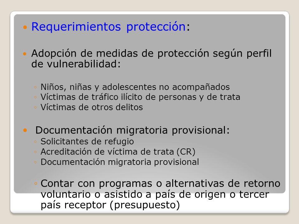 Requerimientos protección: