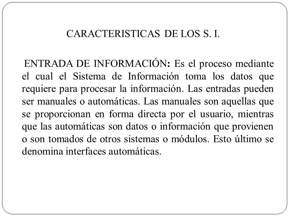 CARACTERISTICAS DE LOS S. I.