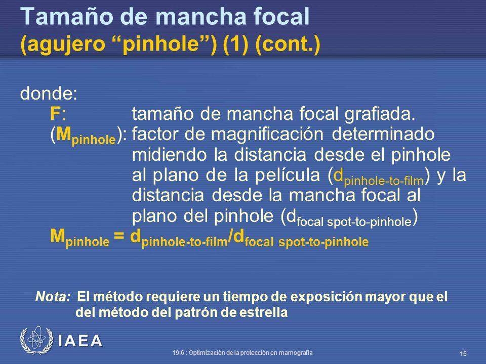 Tamaño de mancha focal (agujero pinhole ) (1) (cont.)