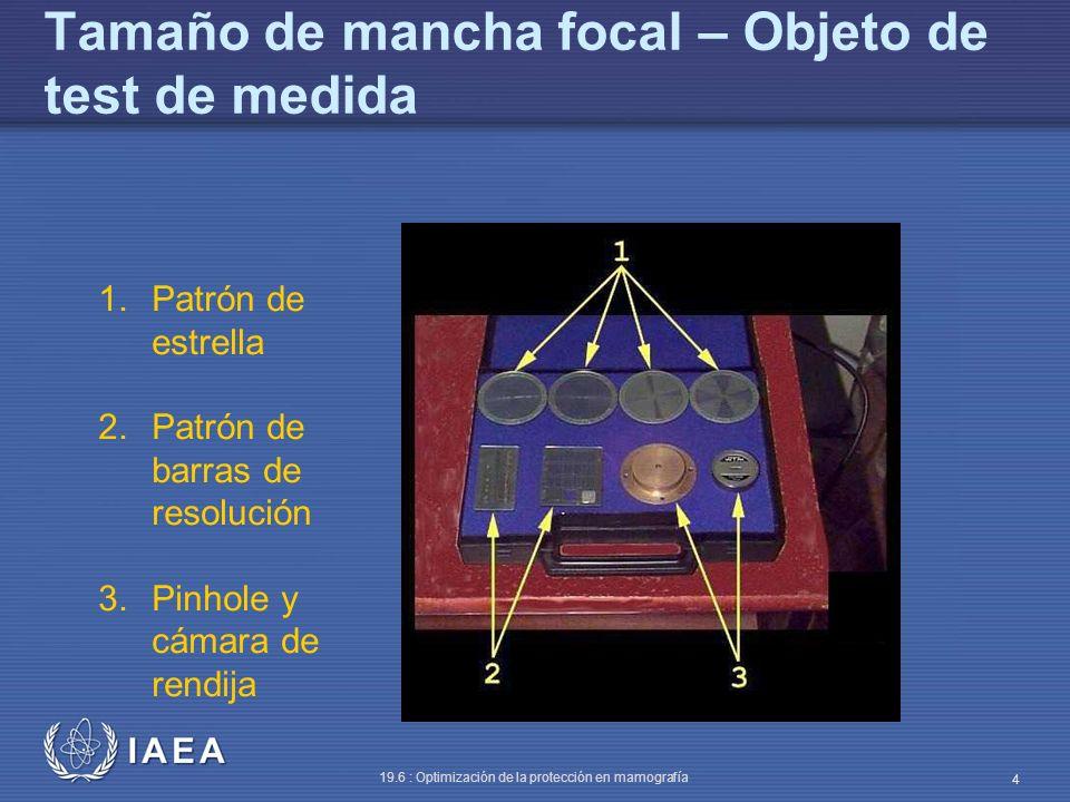 Tamaño de mancha focal – Objeto de test de medida