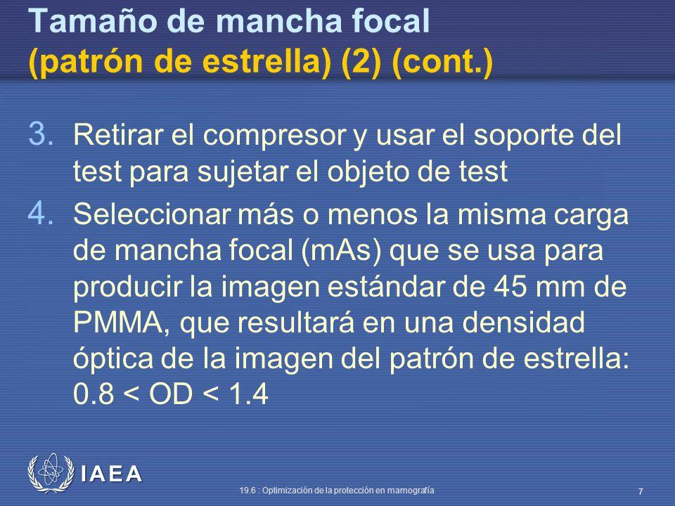 Tamaño de mancha focal (patrón de estrella) (2) (cont.)