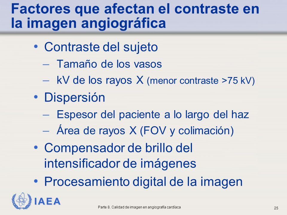 Factores que afectan el contraste en la imagen angiográfica