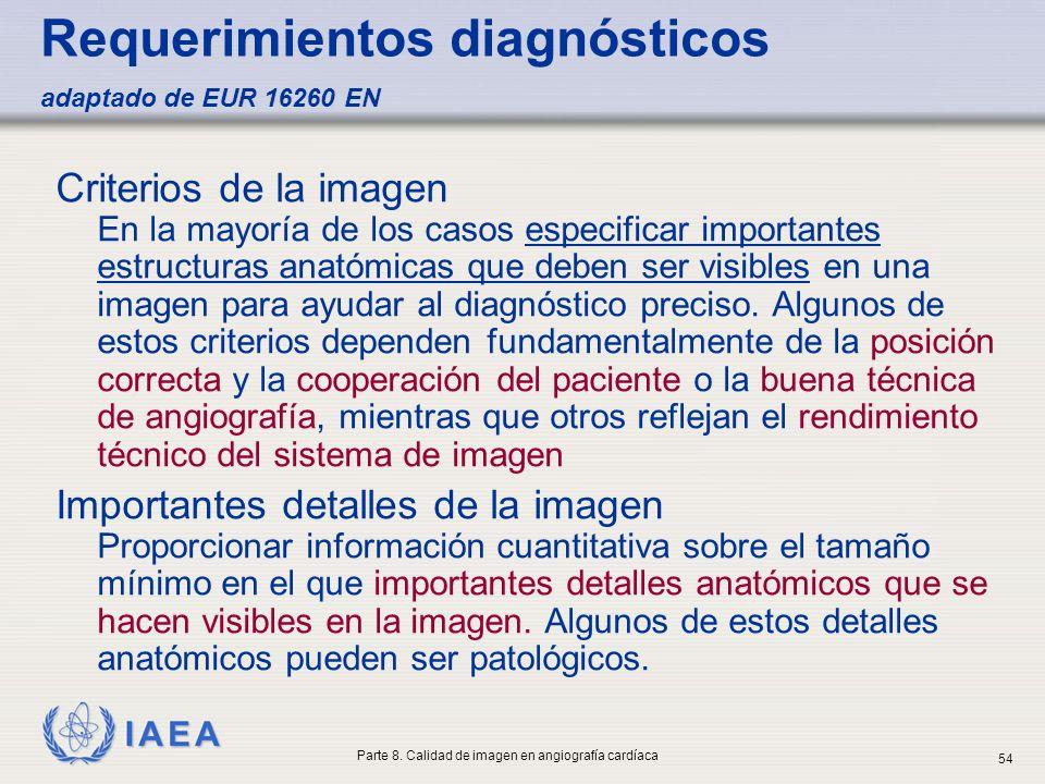 Requerimientos diagnósticos adaptado de EUR 16260 EN
