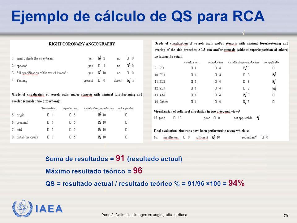 Ejemplo de cálculo de QS para RCA