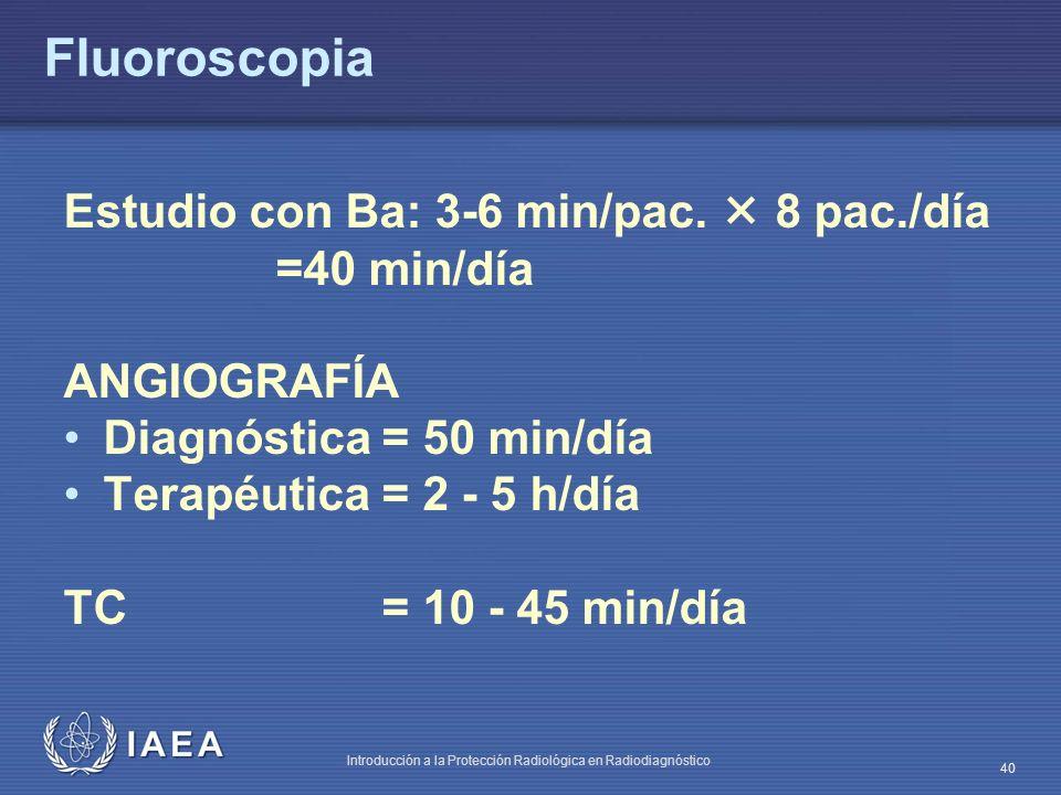 Fluoroscopia Estudio con Ba: 3-6 min/pac.  8 pac./día =40 min/día