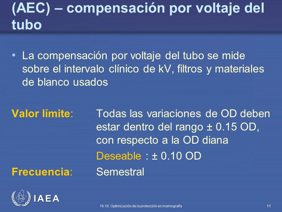 (AEC) – compensación por voltaje del tubo