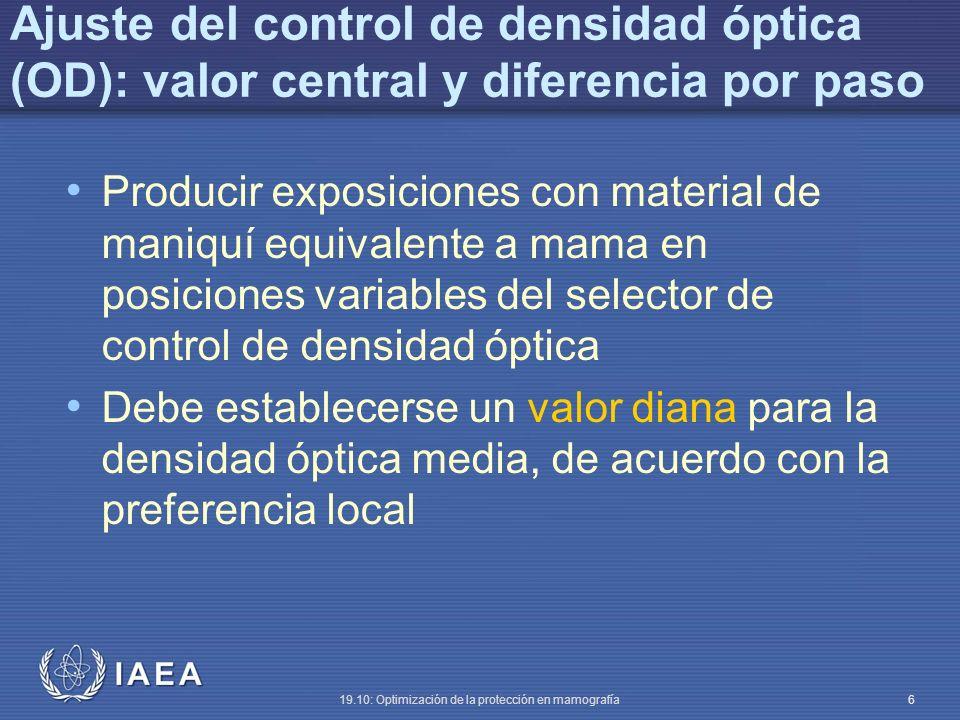 Ajuste del control de densidad óptica (OD): valor central y diferencia por paso