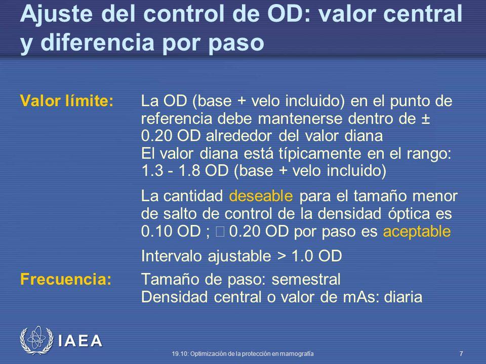 Ajuste del control de OD: valor central y diferencia por paso