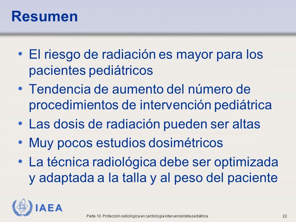 Resumen El riesgo de radiación es mayor para los pacientes pediátricos