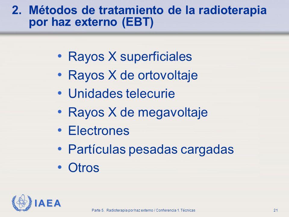 2. Métodos de tratamiento de la radioterapia por haz externo (EBT)