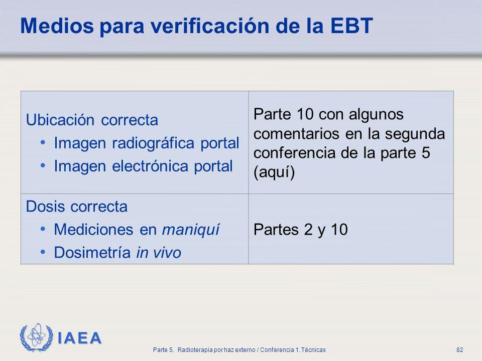 Medios para verificación de la EBT