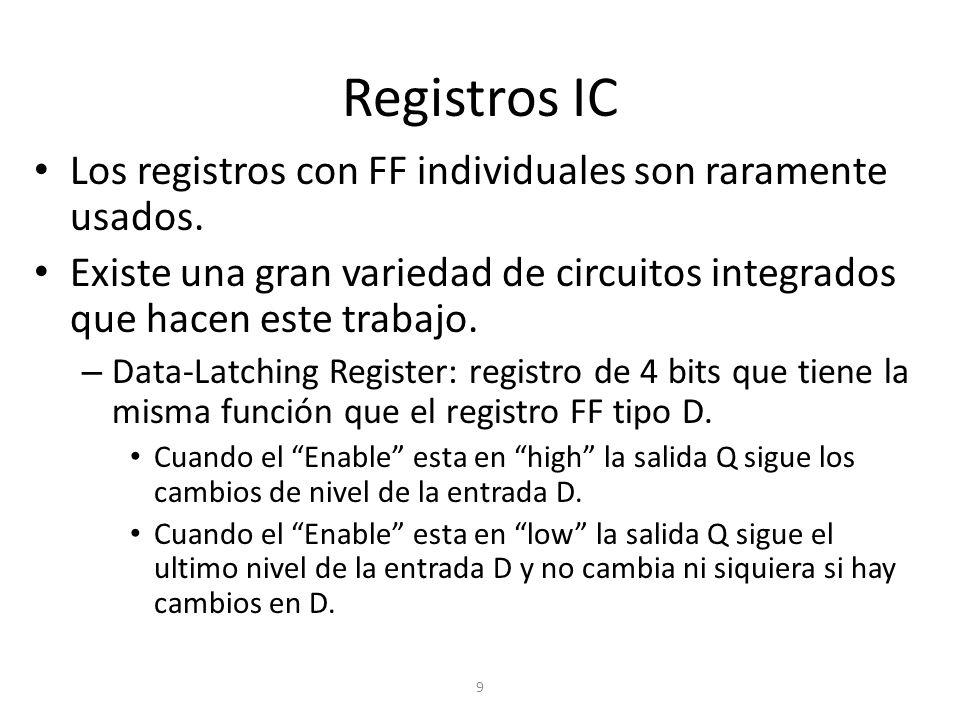 Registros IC Los registros con FF individuales son raramente usados.