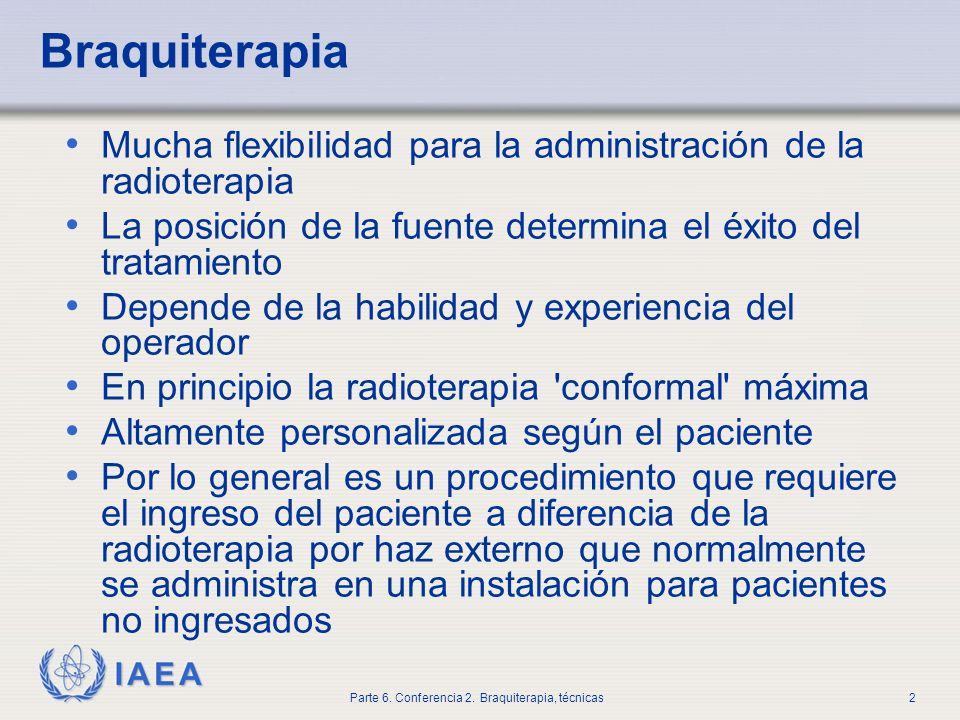 Braquiterapia Mucha flexibilidad para la administración de la radioterapia. La posición de la fuente determina el éxito del tratamiento.