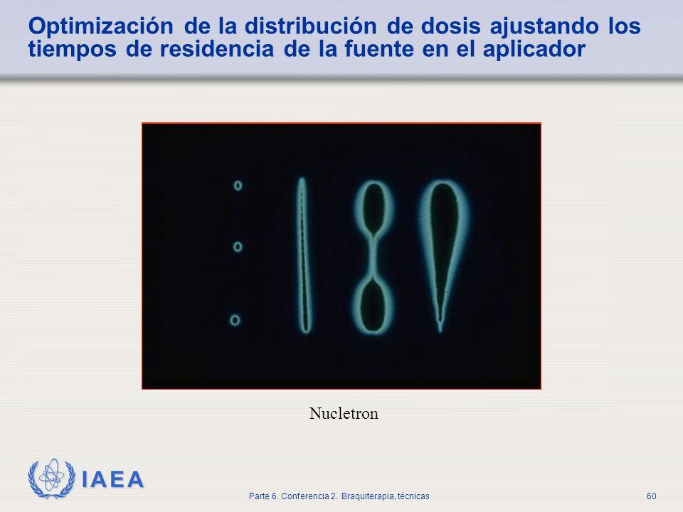 Optimización de la distribución de dosis ajustando los tiempos de residencia de la fuente en el aplicador