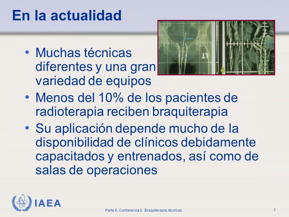 En la actualidad Muchas técnicas diferentes y una gran variedad de equipos. Menos del 10% de los pacientes de radioterapia reciben braquiterapia.