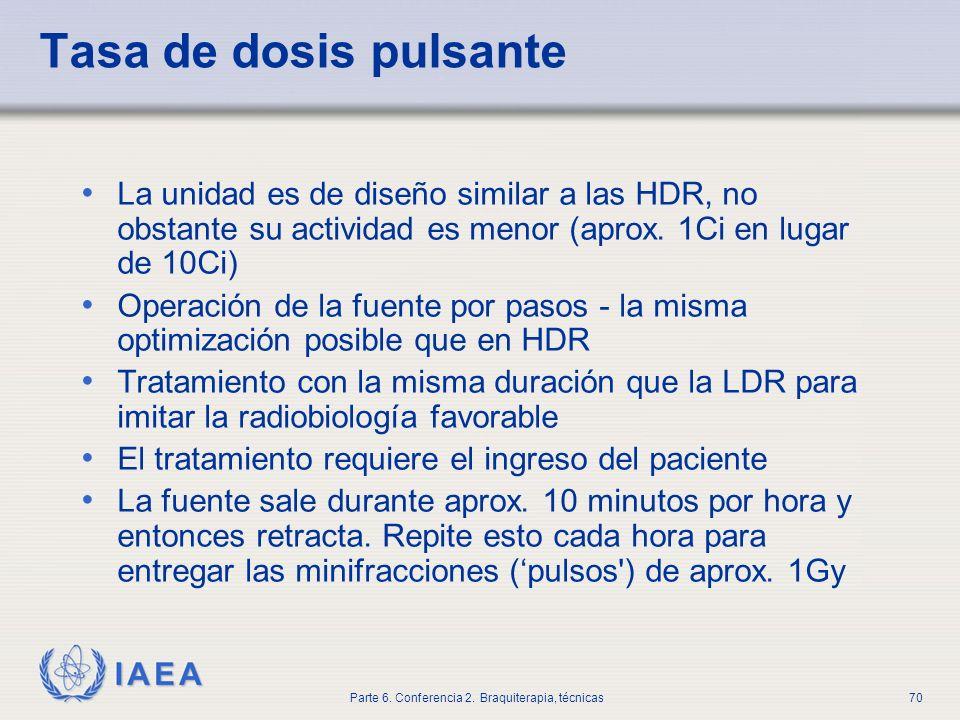 Tasa de dosis pulsanteLa unidad es de diseño similar a las HDR, no obstante su actividad es menor (aprox. 1Ci en lugar de 10Ci)