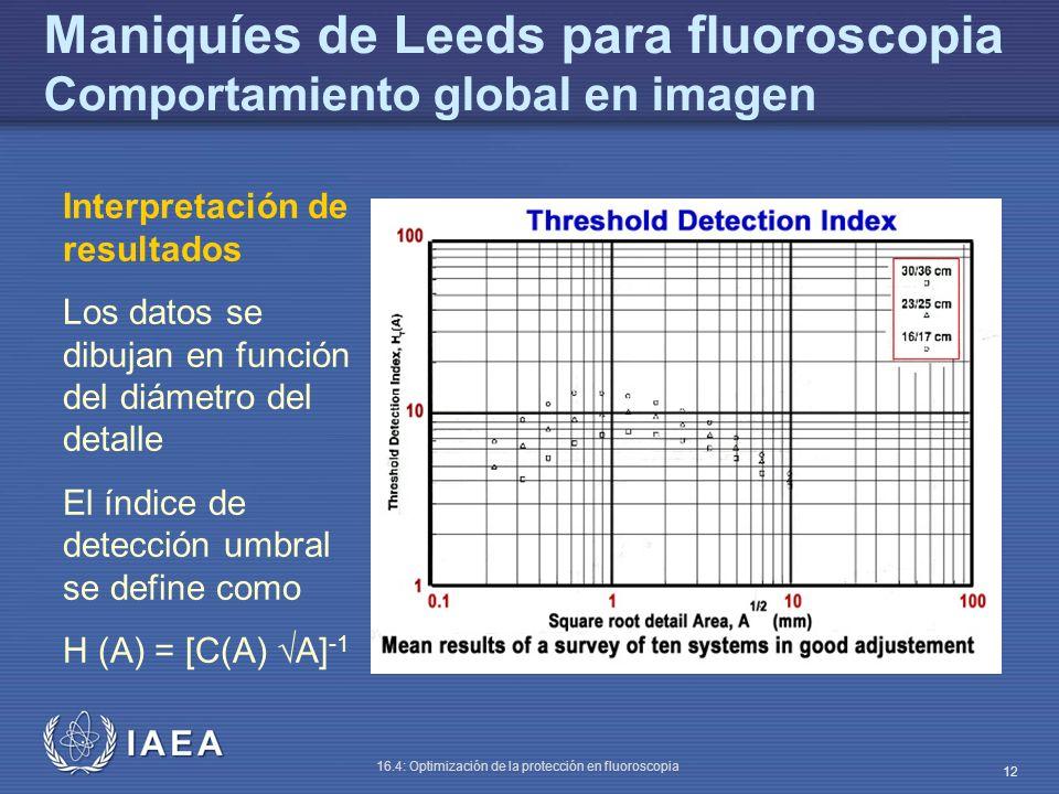 Maniquíes de Leeds para fluoroscopia Comportamiento global en imagen