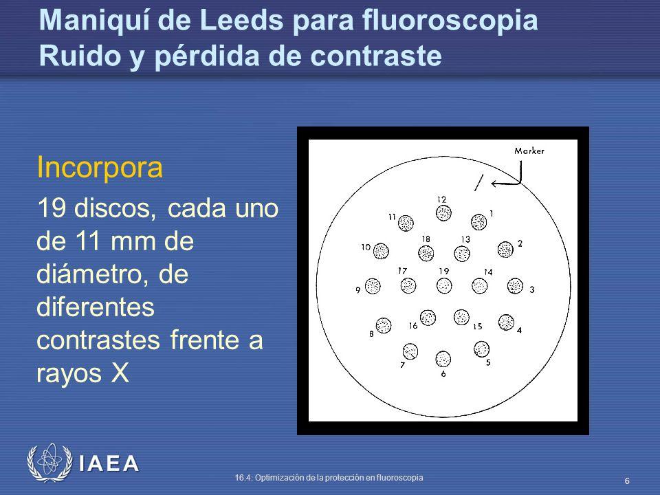 Maniquí de Leeds para fluoroscopia Ruido y pérdida de contraste