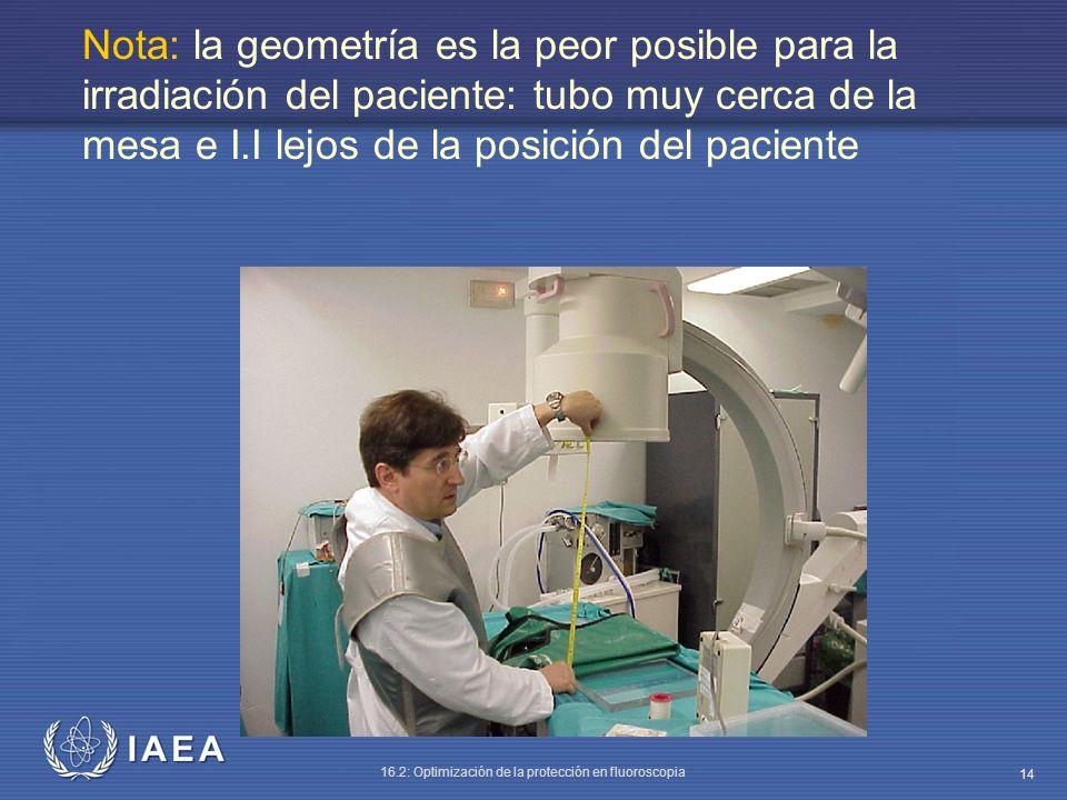 Nota: la geometría es la peor posible para la irradiación del paciente: tubo muy cerca de la mesa e I.I lejos de la posición del paciente