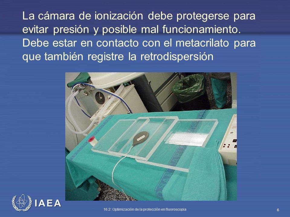 La cámara de ionización debe protegerse para evitar presión y posible mal funcionamiento.