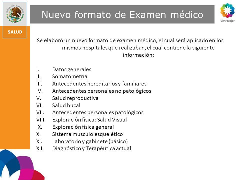 Nuevo formato de Examen médico