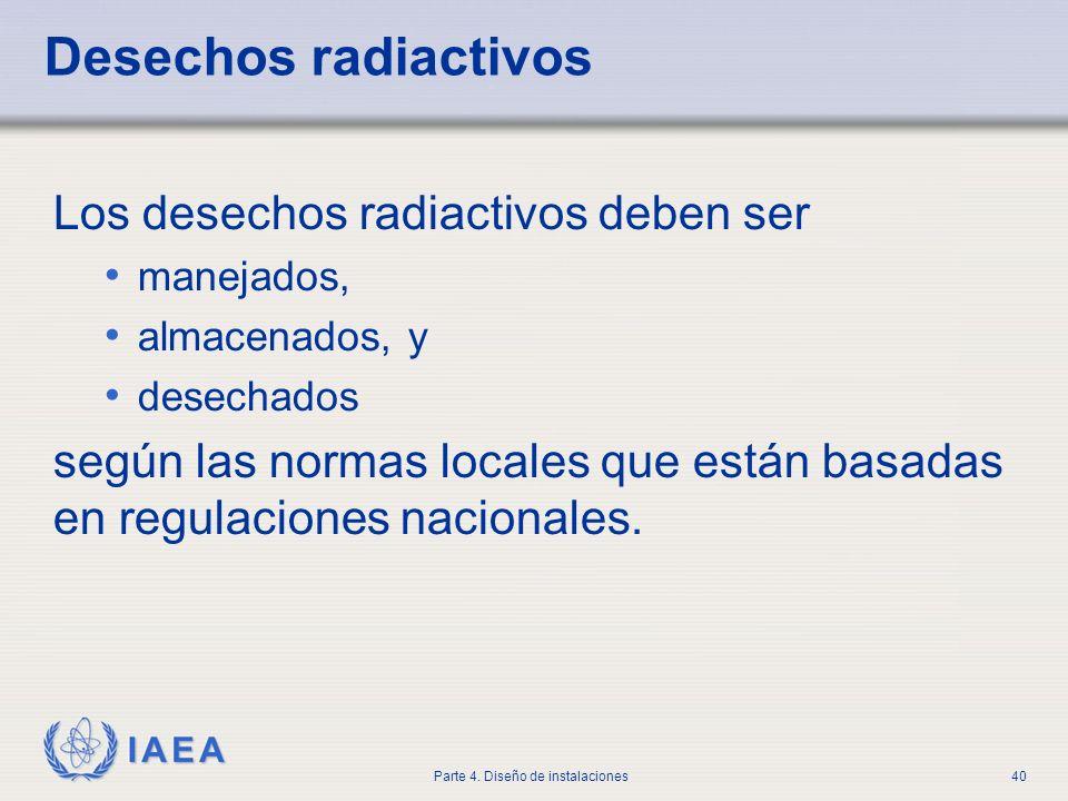 Desechos radiactivos Los desechos radiactivos deben ser