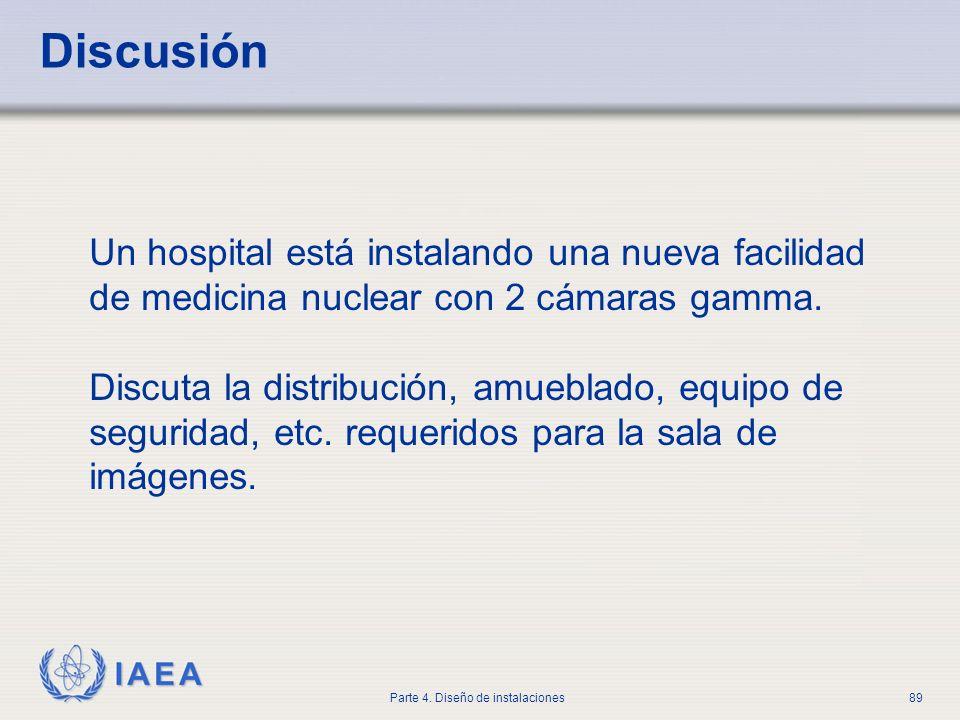 DiscusiónUn hospital está instalando una nueva facilidad de medicina nuclear con 2 cámaras gamma.