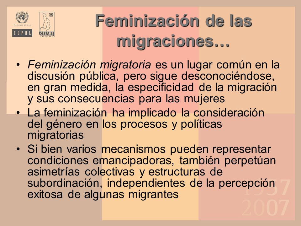 Feminización de las migraciones…