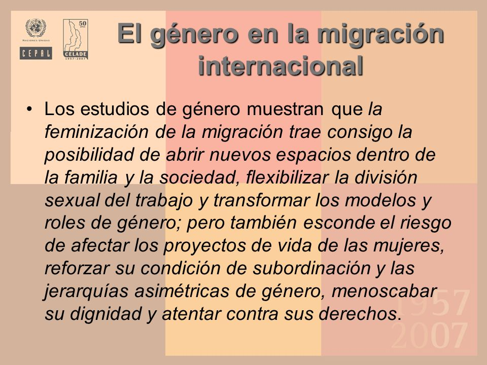 El género en la migración internacional