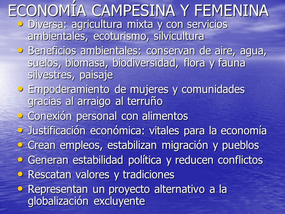 ECONOMÍA CAMPESINA Y FEMENINA