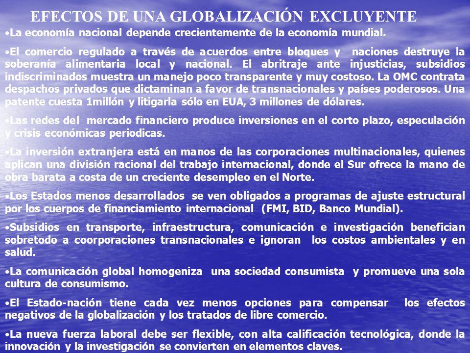 EFECTOS DE UNA GLOBALIZACIÓN EXCLUYENTE