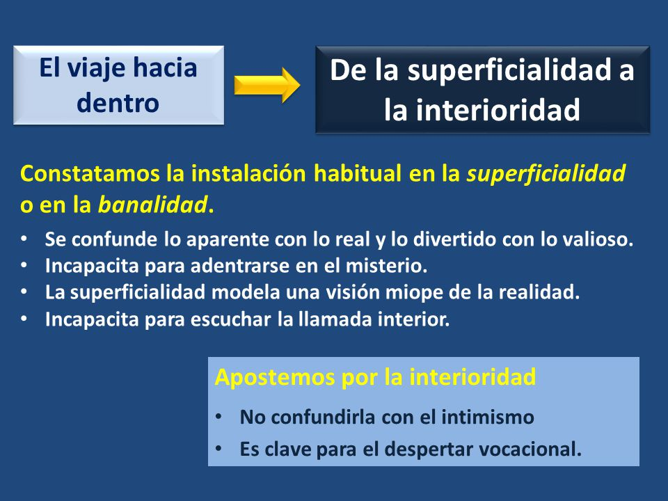 De la superficialidad a la interioridad