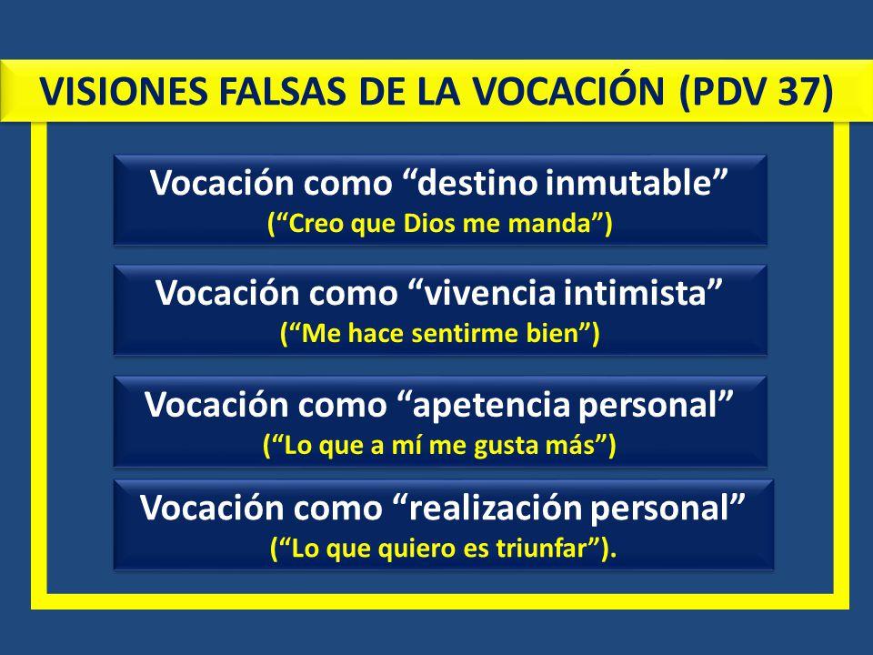 VISIONES FALSAS DE LA VOCACIÓN (PDV 37)