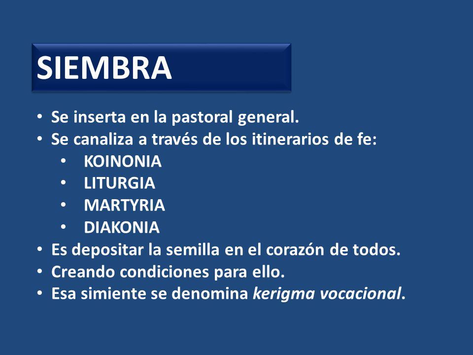 SIEMBRA Se inserta en la pastoral general.