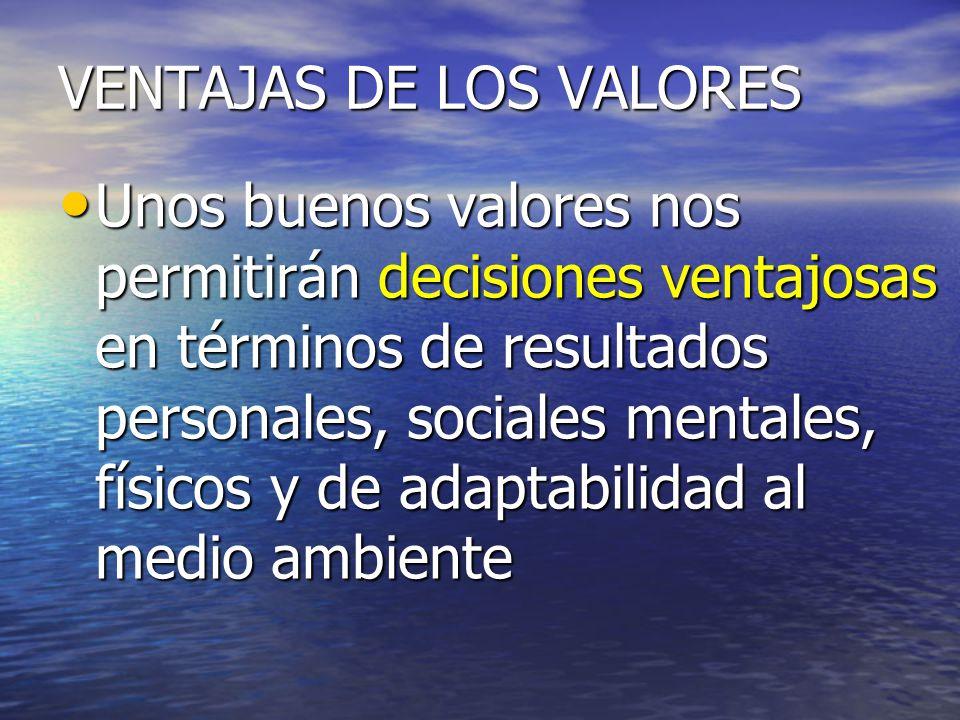 VENTAJAS DE LOS VALORES