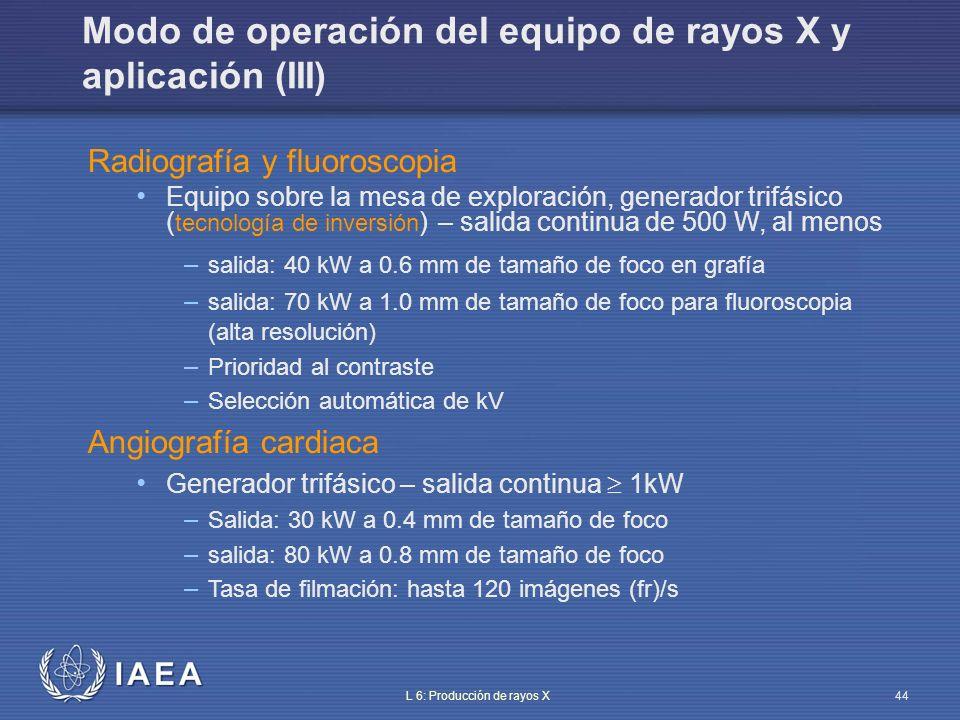 Modo de operación del equipo de rayos X y aplicación (III)