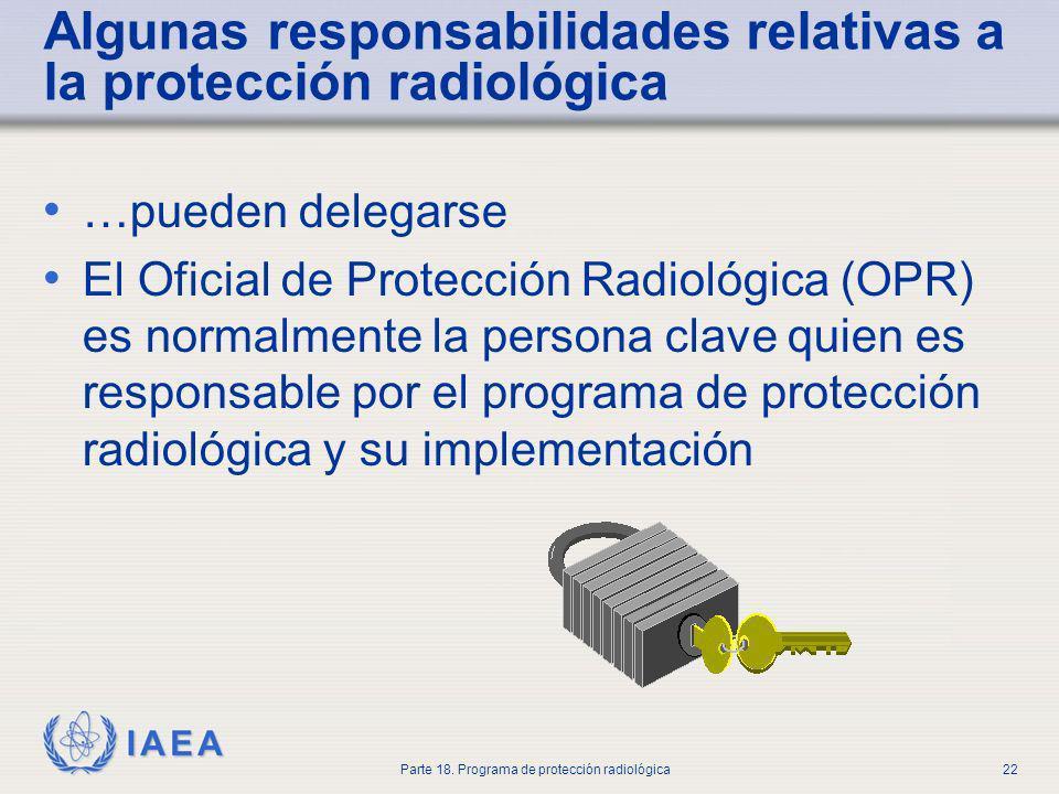 Algunas responsabilidades relativas a la protección radiológica