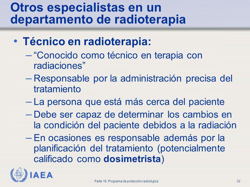 Otros especialistas en un departamento de radioterapia