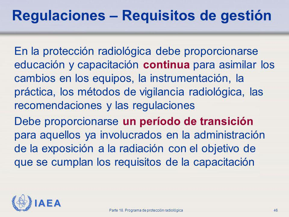 Regulaciones – Requisitos de gestión