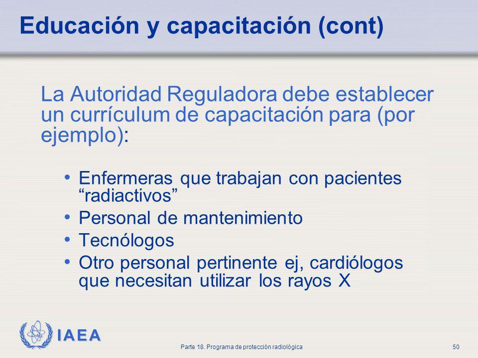 Educación y capacitación (cont)