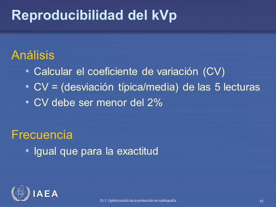Reproducibilidad del kVp