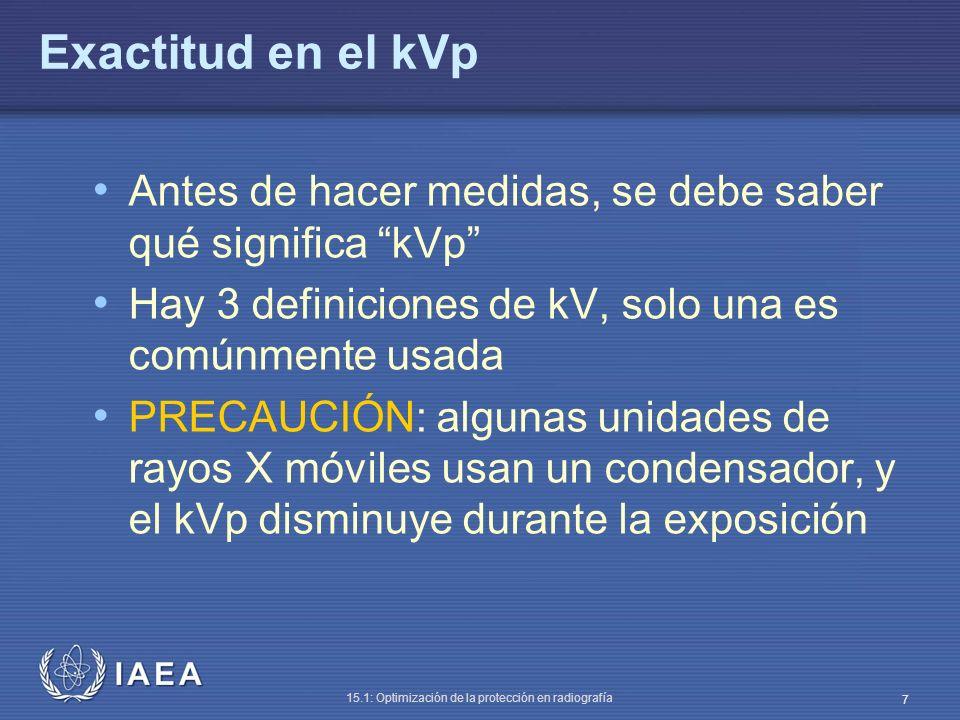 Exactitud en el kVp Antes de hacer medidas, se debe saber qué significa kVp Hay 3 definiciones de kV, solo una es comúnmente usada.
