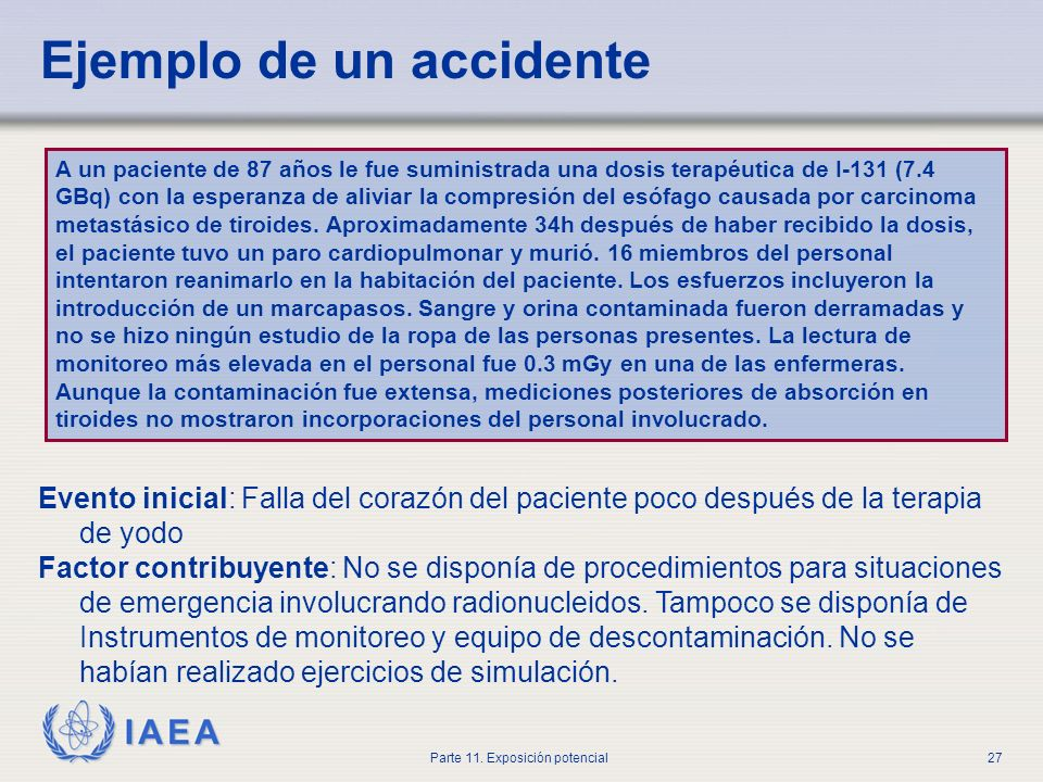 Ejemplo de un accidente