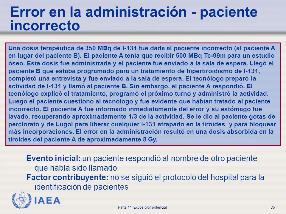 Error en la administración - paciente incorrecto