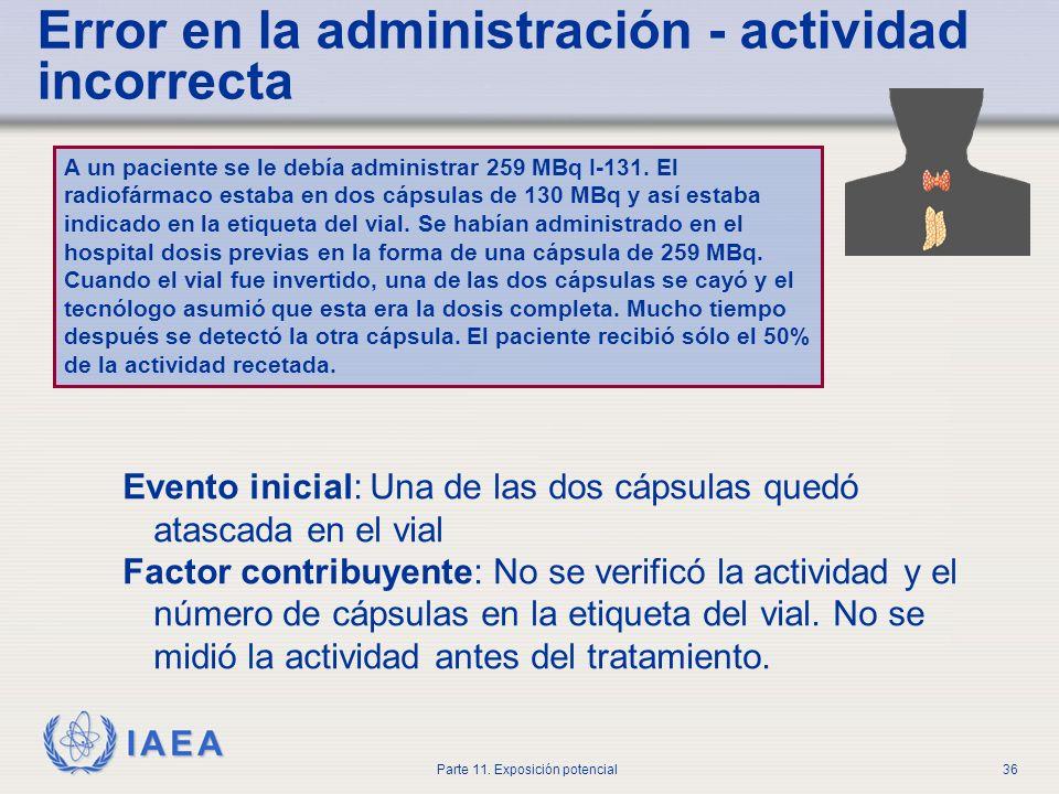 Error en la administración - actividad incorrecta
