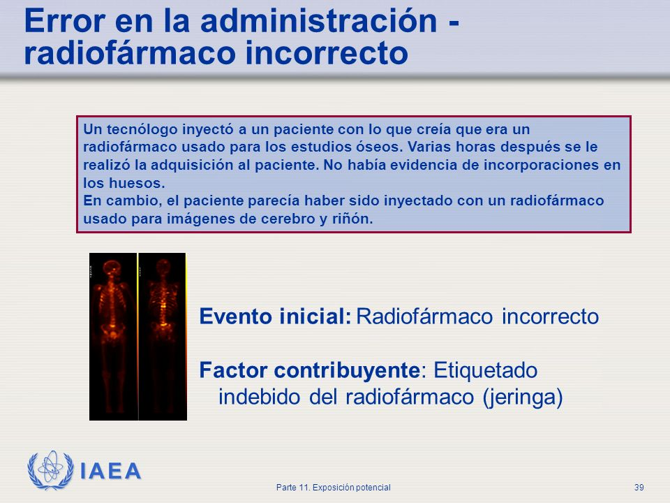 Error en la administración - radiofármaco incorrecto
