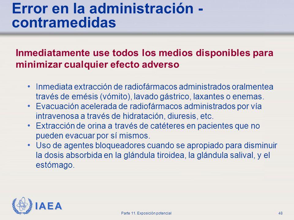 Error en la administración - contramedidas