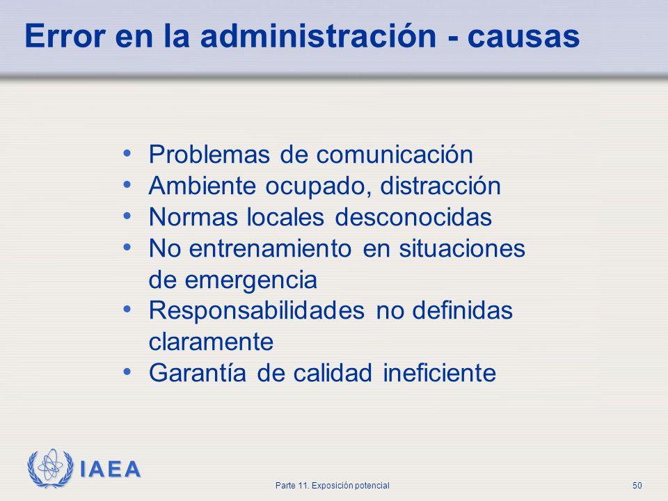 Error en la administración - causas